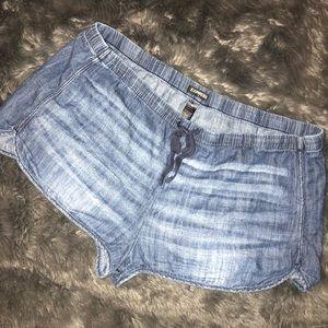 Express Chambray Dark Wash Drawstring Denim Shorts
